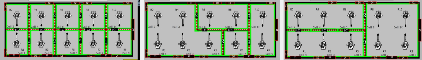 AMT 5x2 robot cell arrangements